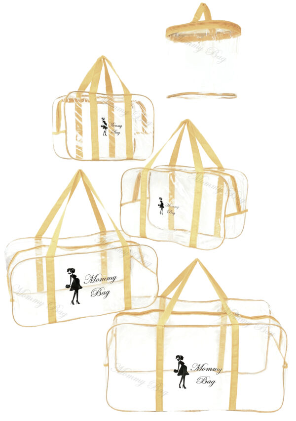 Набір з прозорих сумок в пологовий будинок Mommy Bag, колір сумки - Бежевий