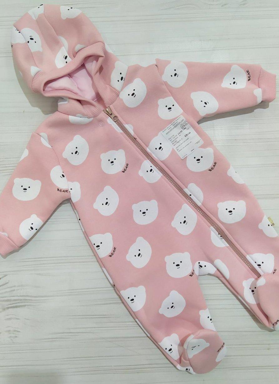Комбинезон теплый RoyalBaby Мишки (Розовый). Фото 2
